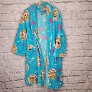 DISNEY Girls Elsa Frozen Fleece Bath Robe Size 6